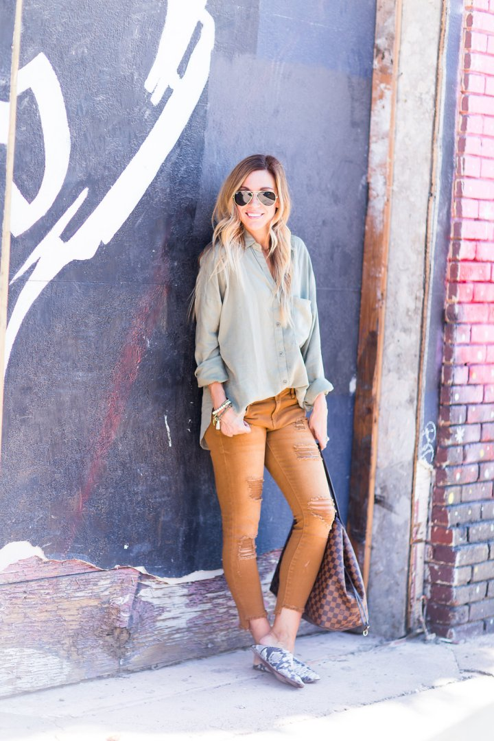 Olive Green and Cinnamon Jeans